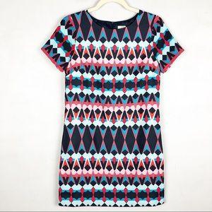 J. Crew Printed Short Sleeve Gallery Dress Geo